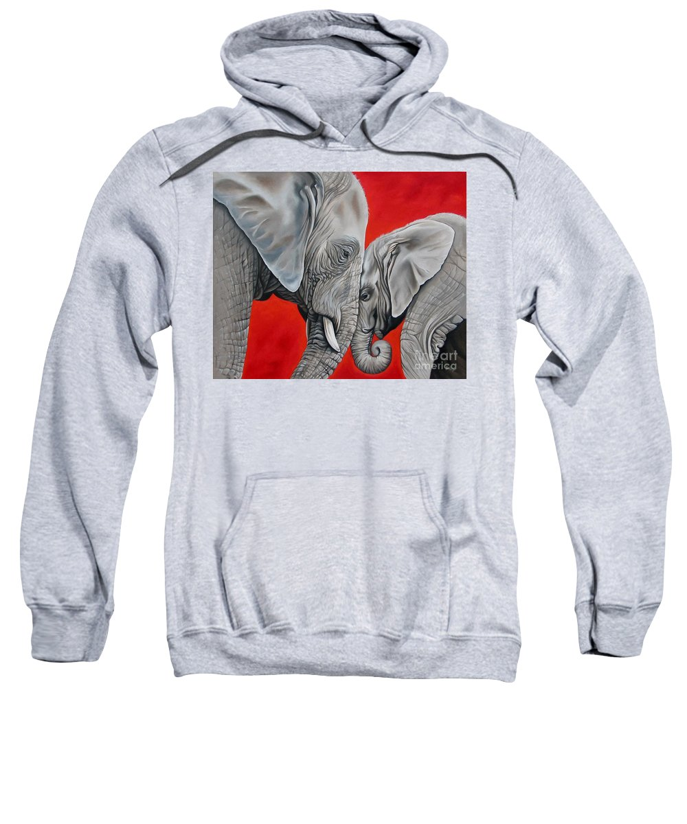 Elephant Sweatshirt featuring the painting Mothers Love by Ilse Kleyn