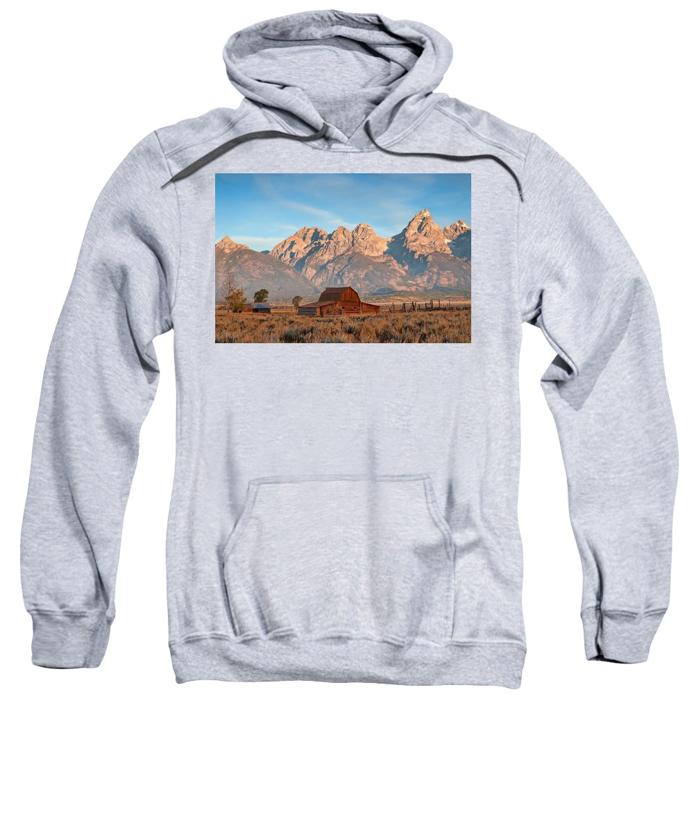 Grand Teton Sweatshirt featuring the photograph Moulton Barn by Steve Stuller