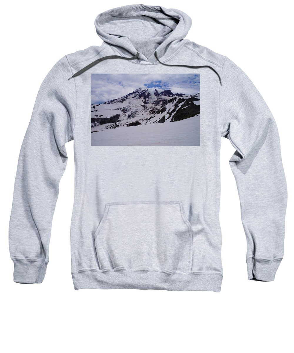 Mountains Sweatshirt featuring the photograph Mount Rainer In The Clouds by Jeff Swan