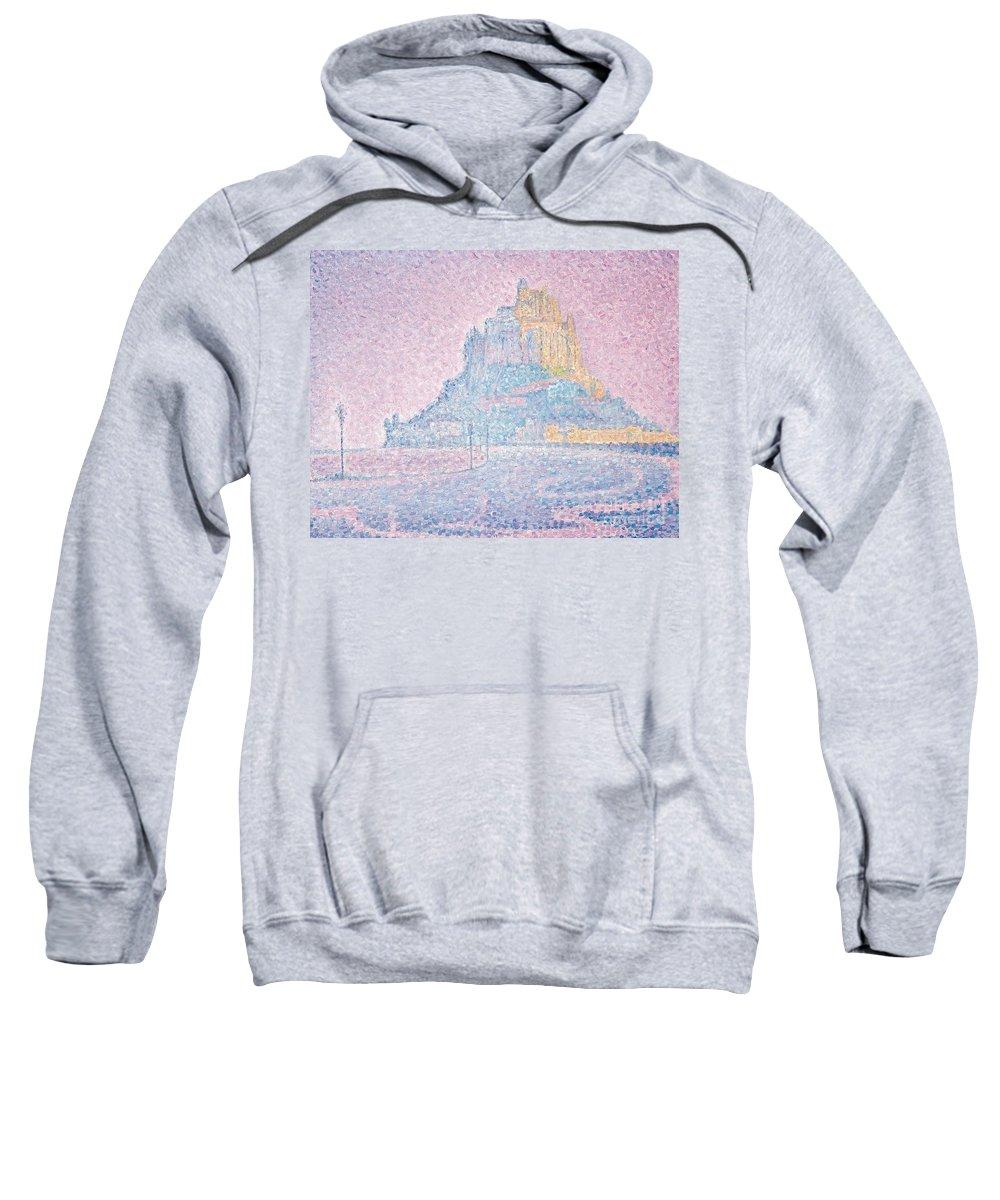 Pointillist; Divisionist; Mont Saint-michel Sweatshirt featuring the painting Mount Saint Michel Fog And Sun by Paul Signac