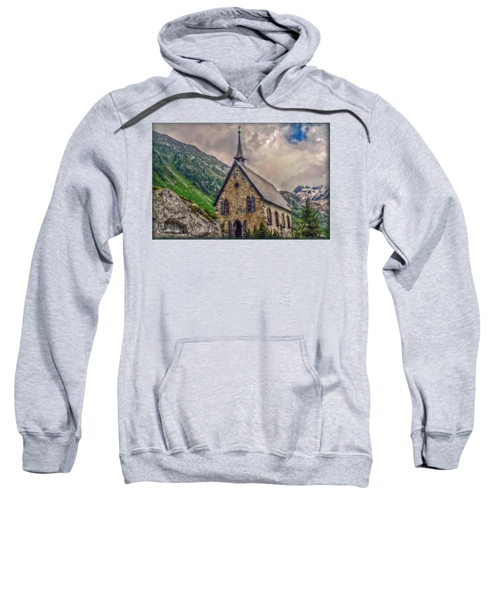 Switzerland Sweatshirt featuring the photograph Mountain Chapel by Hanny Heim