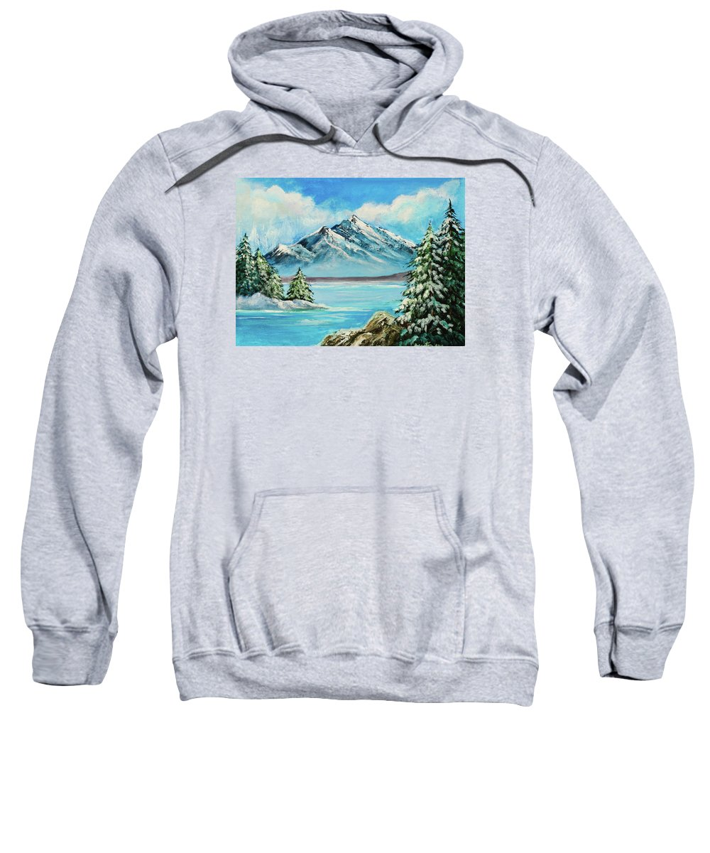 Art Sweatshirt featuring the painting Mountain Lake In Winter Original Painting Forsale by Bob and Nadine Johnston