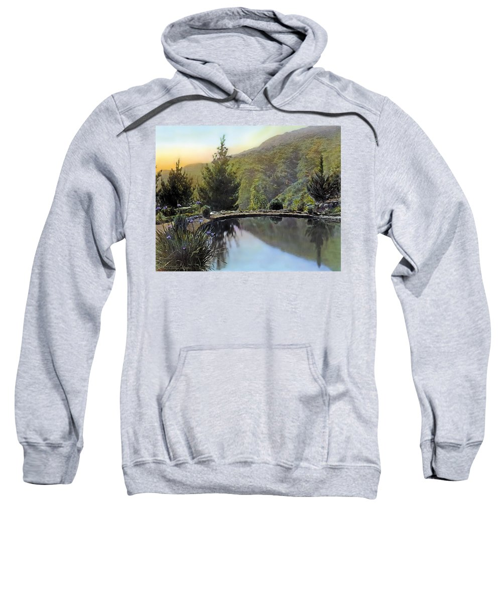 Tranquil Sweatshirt featuring the painting Mountain Sunset by Terry Reynoldson