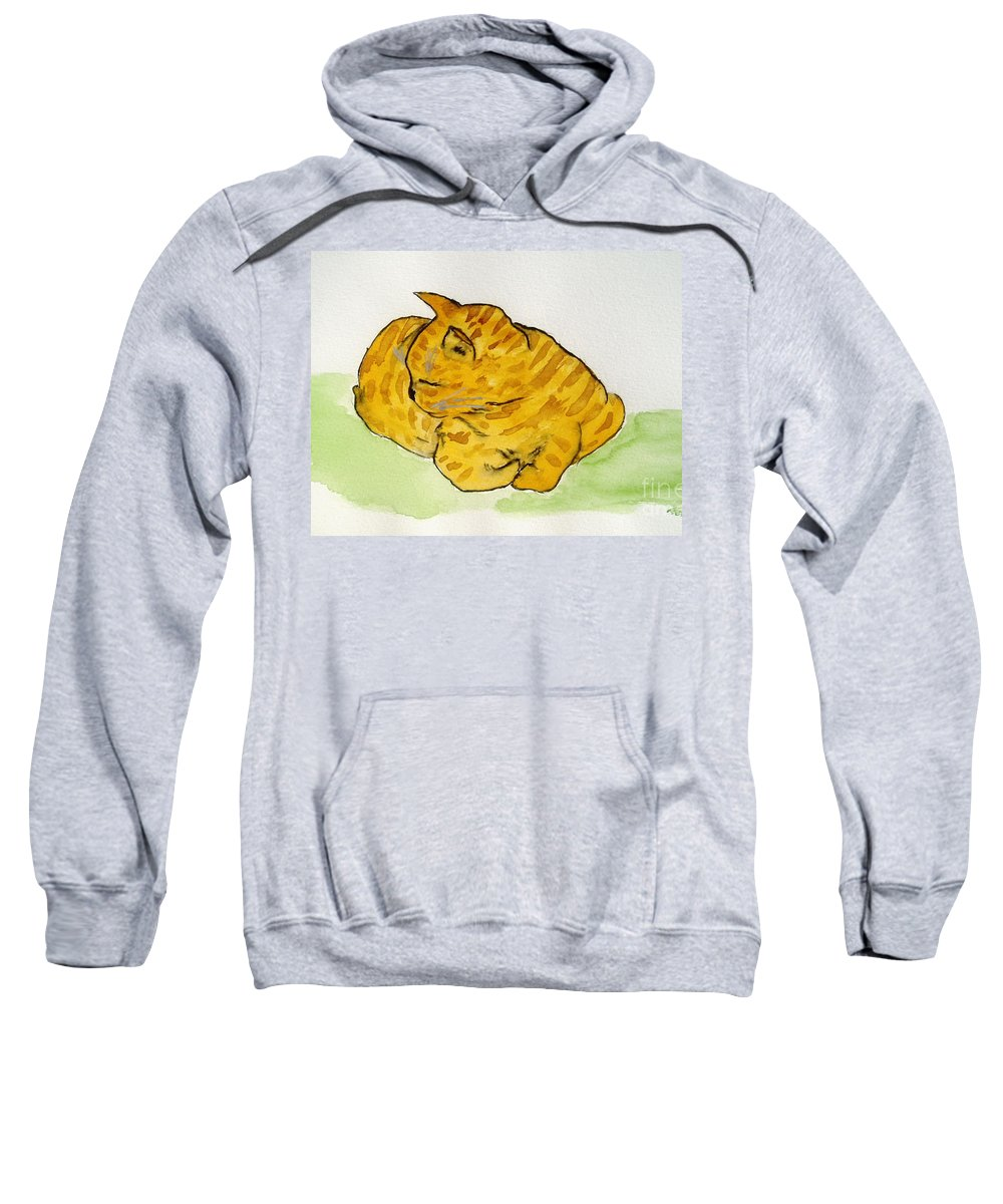 Cat Painting Sweatshirt featuring the painting Mr. Yellow by Reina Resto