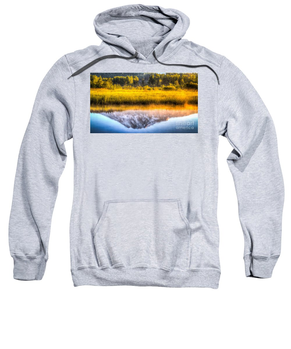 Mt Adams Sweatshirt featuring the photograph Mt Adams Reflection by Matt Hoffmann