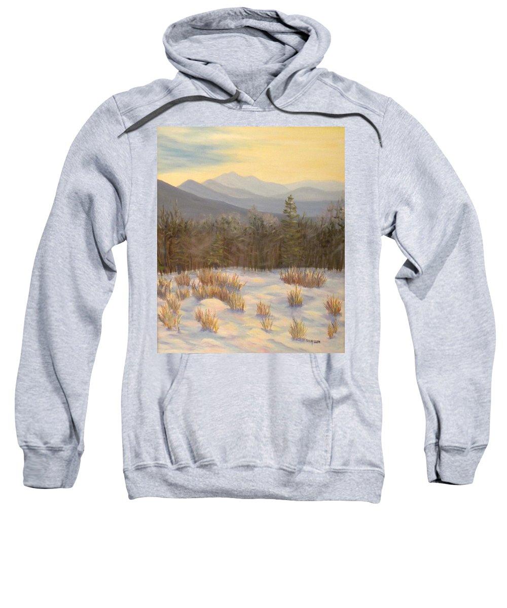 Mt. Lafayette Sweatshirt featuring the painting Mt. Lafayette from Jefferson by Sharon E Allen