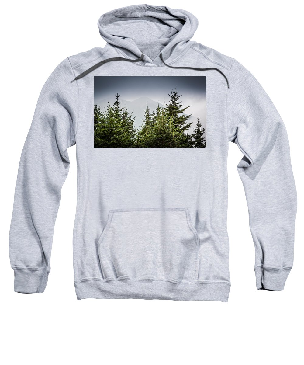 2012 Print Sweatshirt featuring the photograph Mt. Mitchell In Fog by Mela Luna