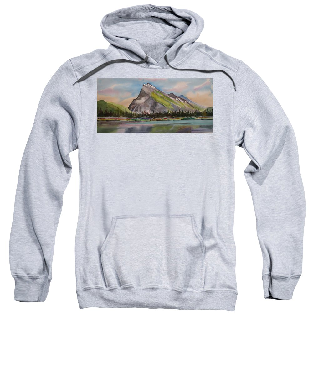 Banff Sweatshirt featuring the painting Mt. Rundle by Mohamed Hirji