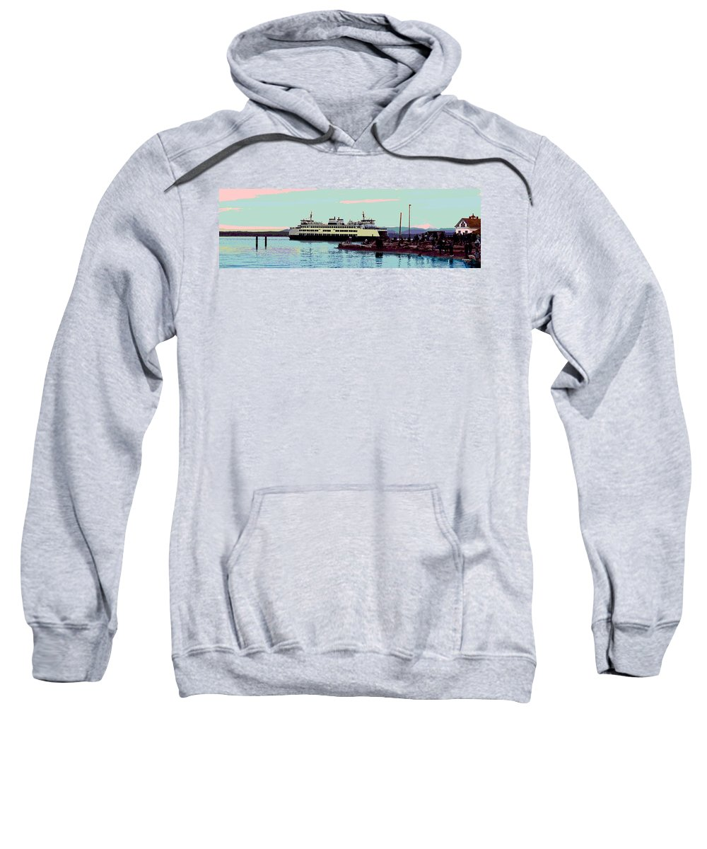 Abstract Sweatshirt featuring the digital art Mukilteo Clinton Ferry Panel 3 Of 3 by James Kramer