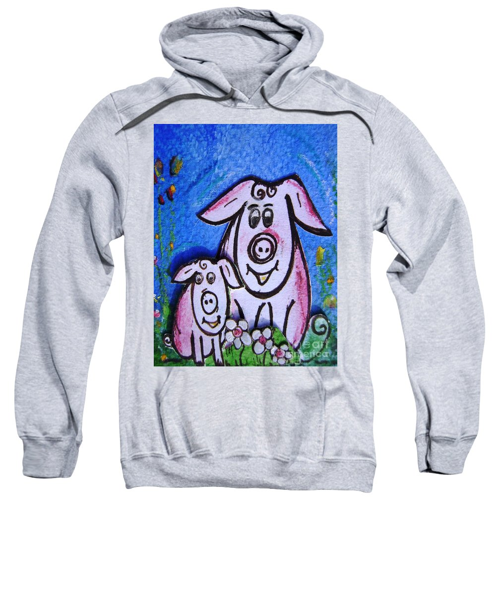 Happy Sweatshirt featuring the painting Mummy And Baby Pig by Mary Cahalan Lee- aka PIXI