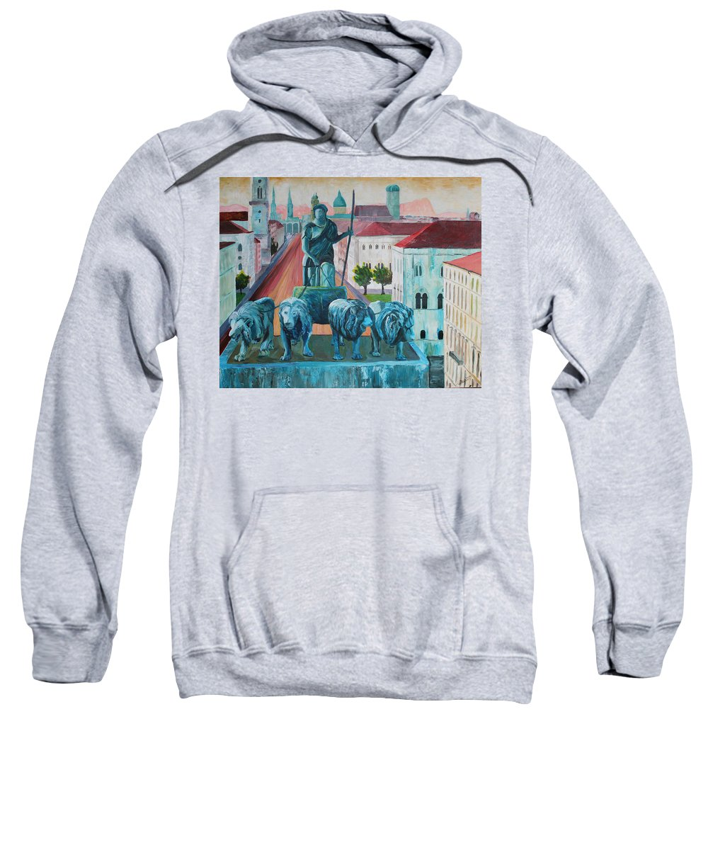 Bavaria Sweatshirt featuring the painting Munich Leopold Str. With Bavaria And Alps by M Bleichner