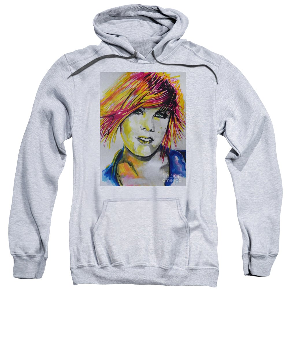 Watercolor Sweatshirt featuring the painting Music Artist..pink by Chrisann Ellis
