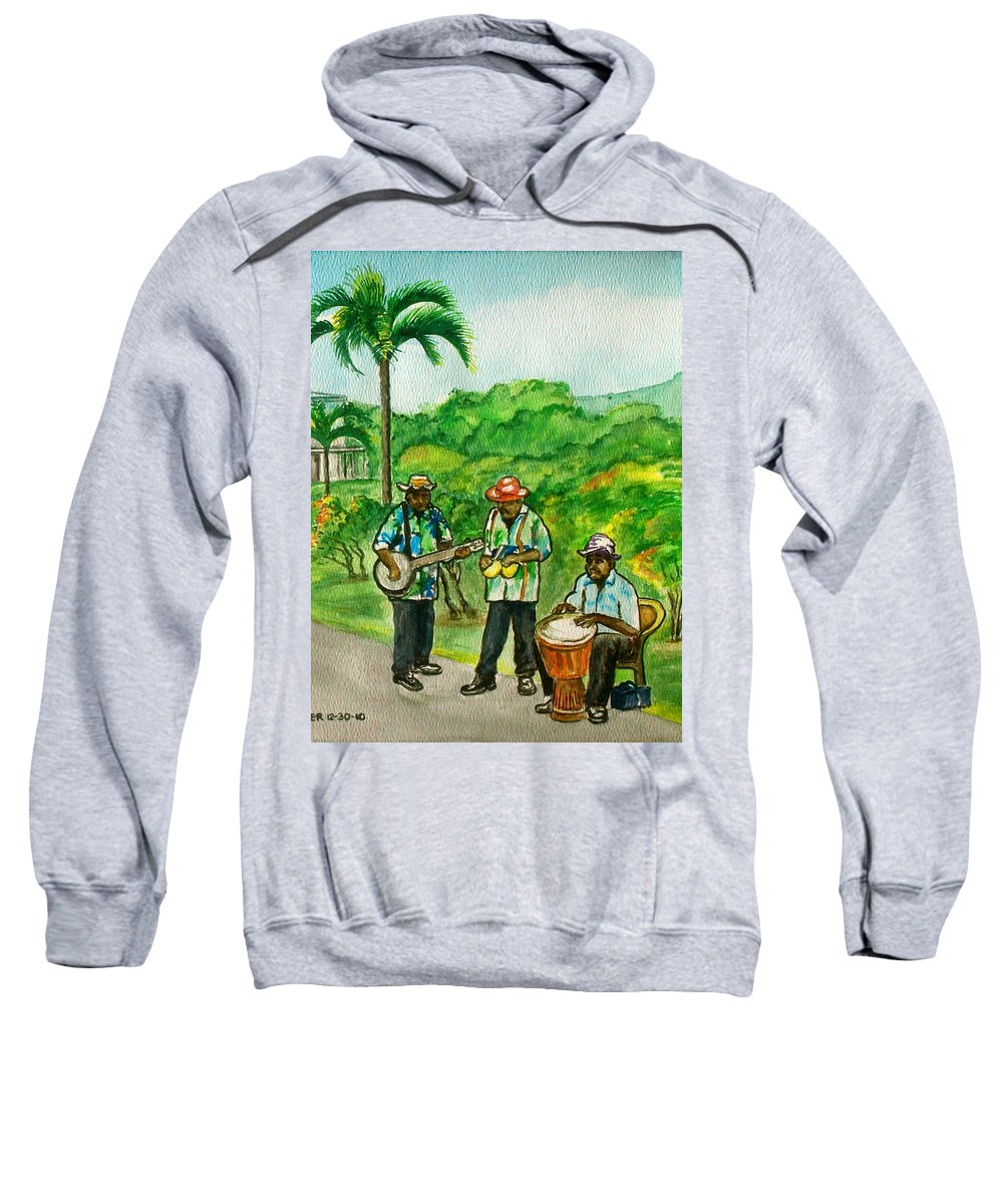 Grenada Island Caribbean Musicians Flowers Palm Car Sweatshirt featuring the painting Musicians On Island Of Grenada by Frank Hunter