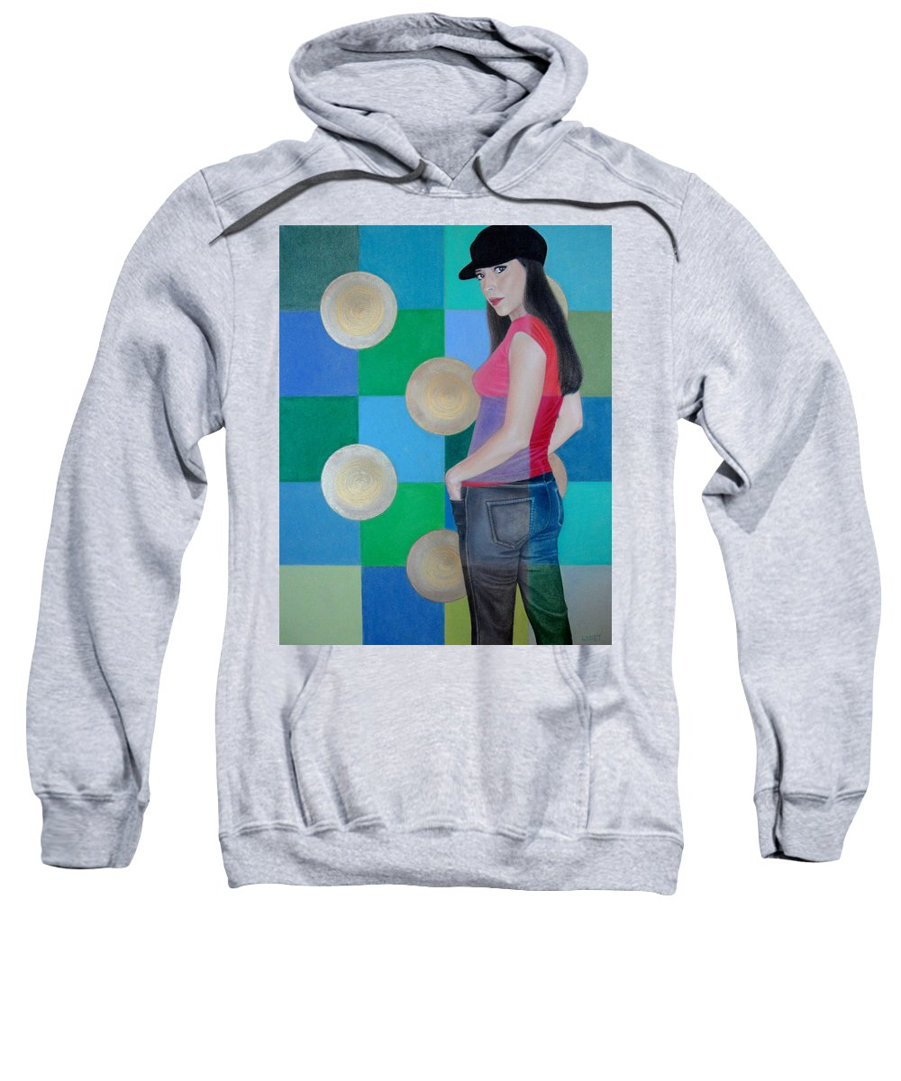 Black Cap Sweatshirt featuring the painting My Black Cap by Lynet McDonald