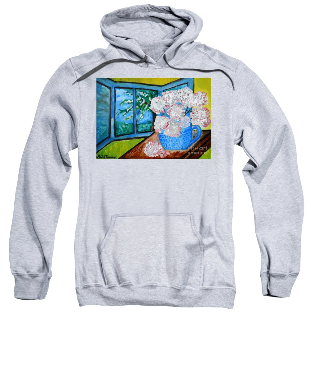 Floral Art Sweatshirt featuring the painting My Grandma S Flowers  by Ramona Matei
