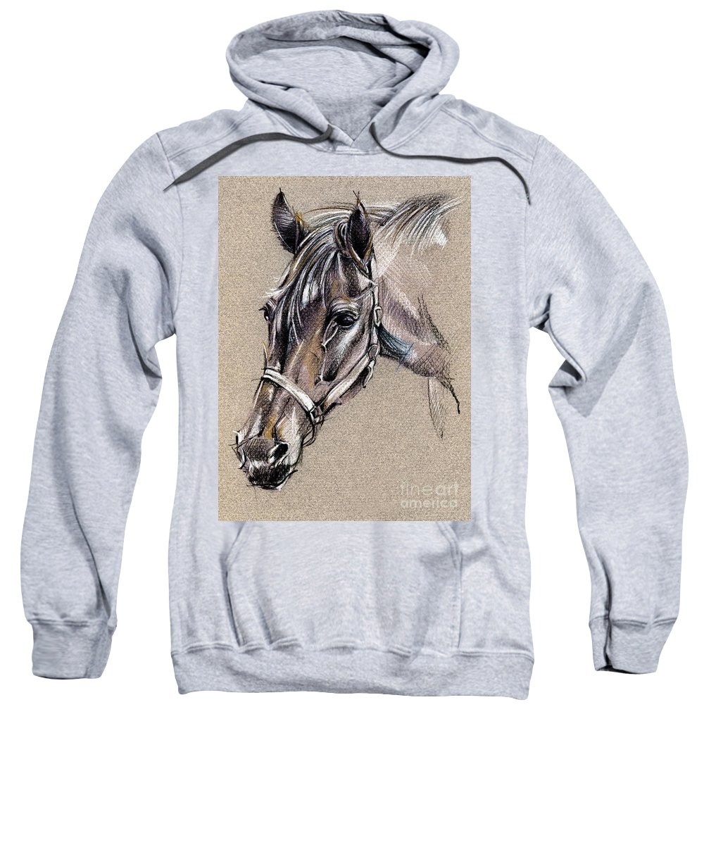 Horse Study Sweatshirt featuring the drawing My Horse Portrait Drawing by Daliana Pacuraru