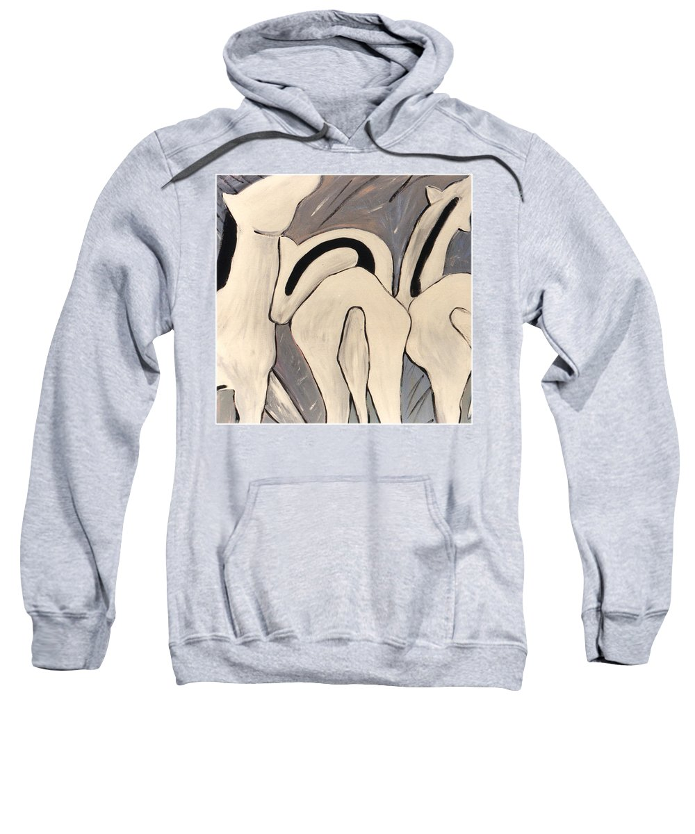 Horses Sweatshirt featuring the painting My Horses Ass by Lance Headlee