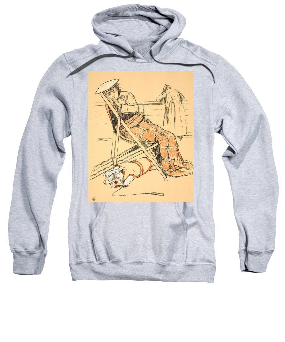 Dog Sweatshirt featuring the painting My Miserable Mistress by Cecil Charles Windsor Aldin