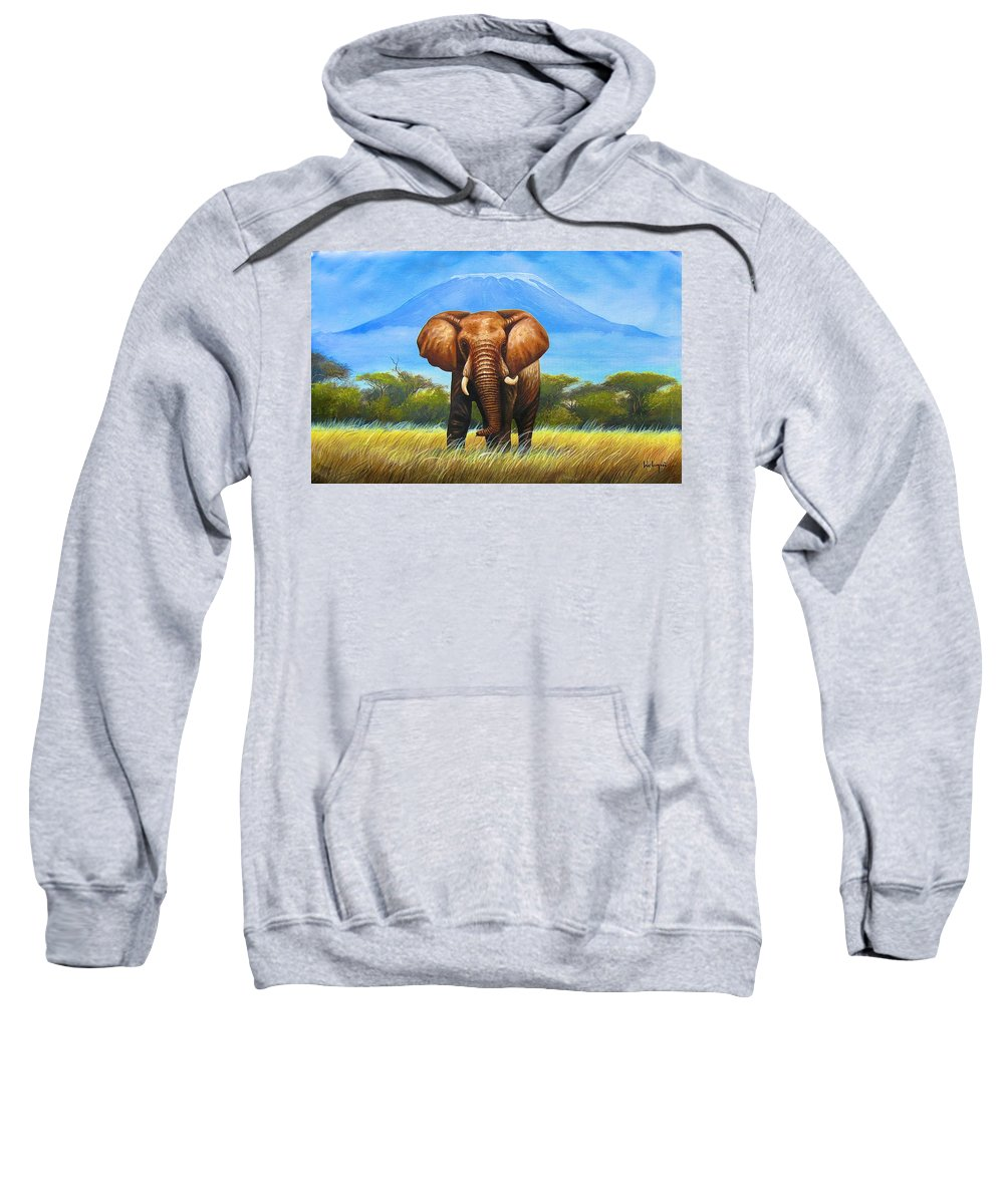 African Paintings Sweatshirt featuring the painting My Mountain by Chagwi