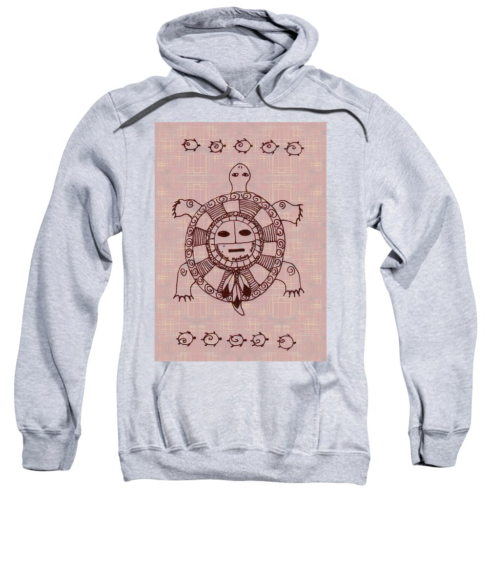 Turtle Sweatshirt featuring the mixed media Mystic Turtle by Monique Montney