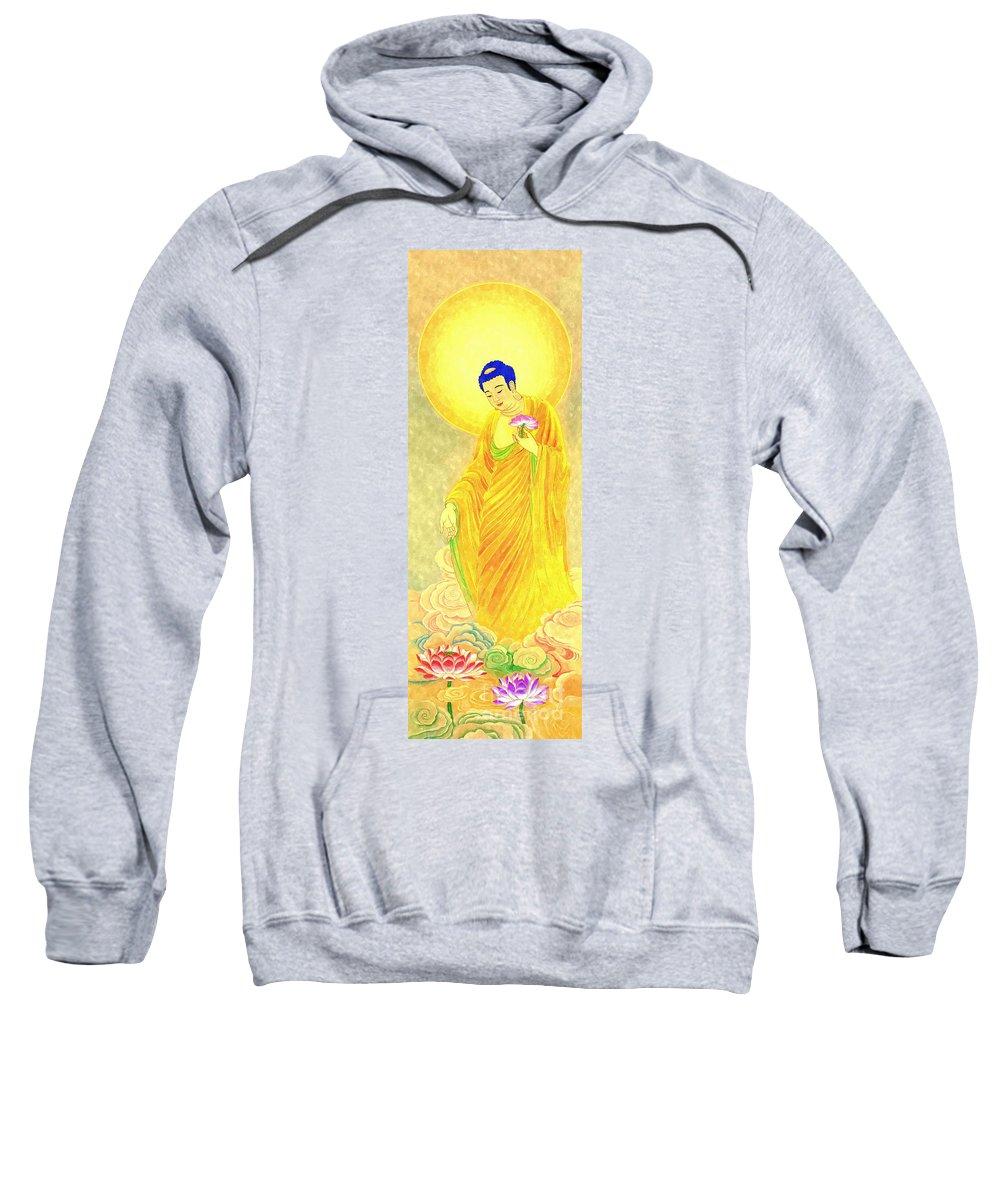 Buddha Of Infinite Light Sweatshirt featuring the painting Namo Amitabha Buddha 31 by Jeelan Clark