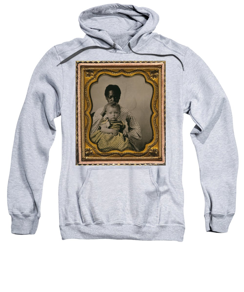 1855 Sweatshirt featuring the photograph Nanny And Child, C1855 by Granger