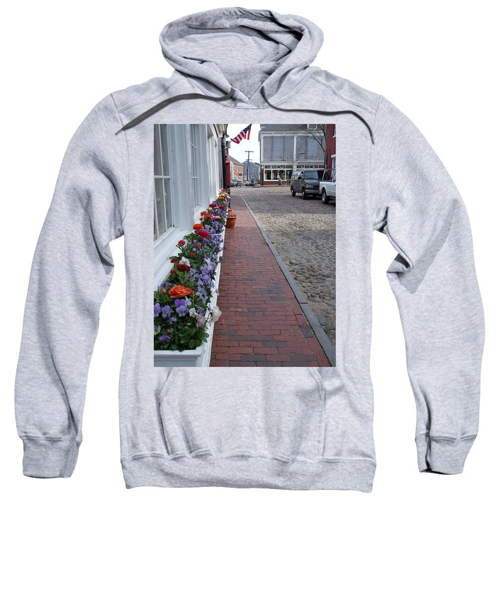 Flowers Sweatshirt featuring the photograph Nantucket Street Scene by Susan Wyman