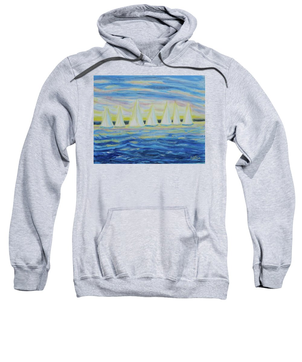 Nantucket Sweatshirt featuring the painting Nantucket Sunrise by Diane Pape