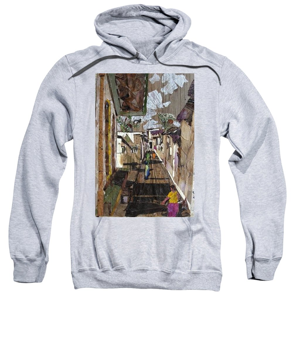 Street Scene Sweatshirt featuring the mixed media Narrow Street by Basant Soni