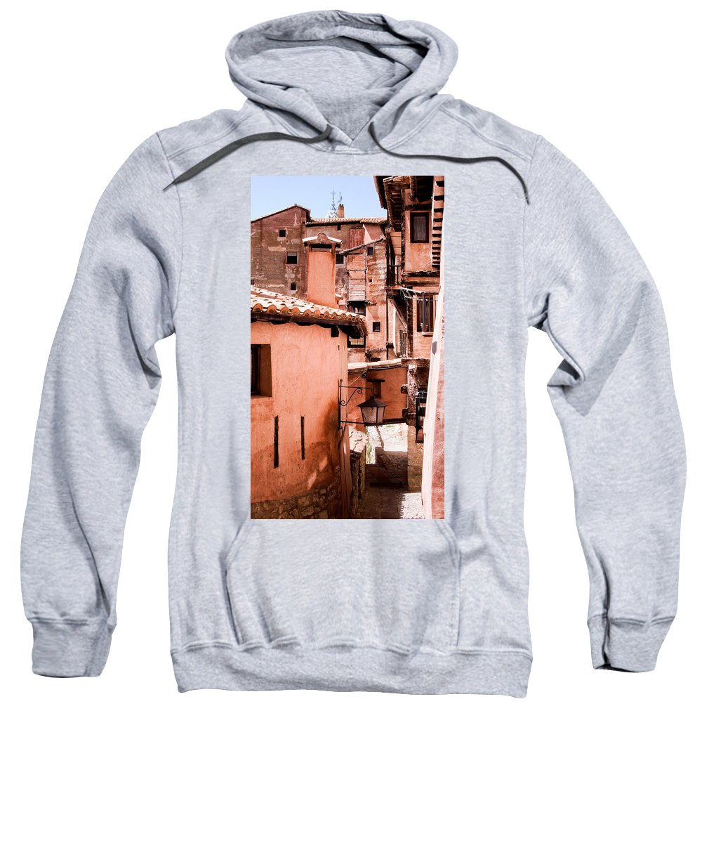 Albarracin Sweatshirt featuring the photograph Narrow Streets Of Albarracin by Weston Westmoreland