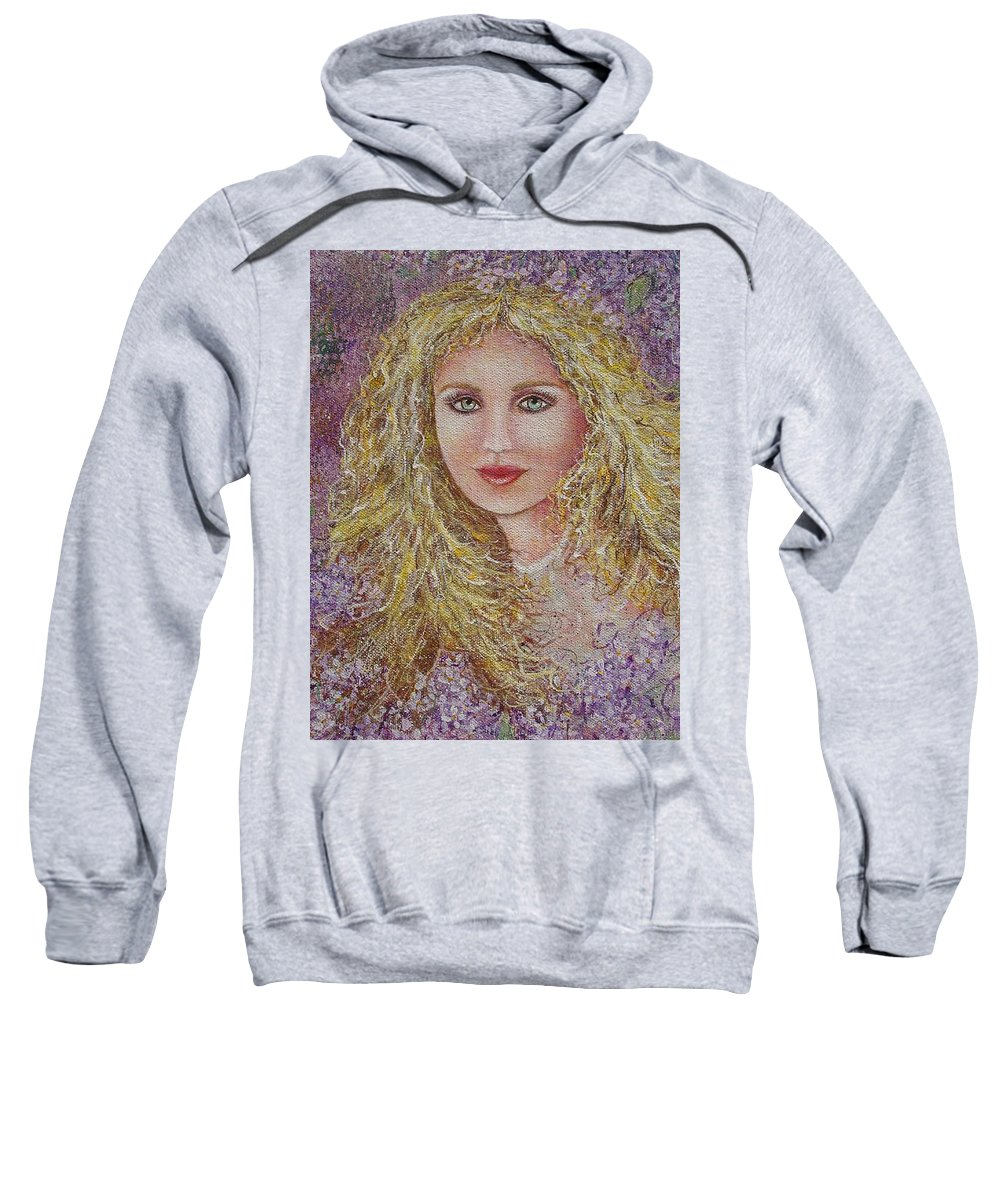 Portrait Sweatshirt featuring the painting Natalie In Lilacs by Natalie Holland