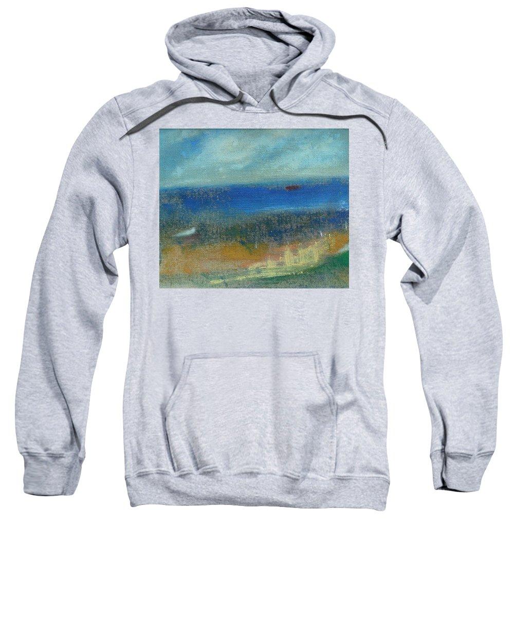Seascape Sweatshirt featuring the painting Near Donaghadee by Mary Feeney