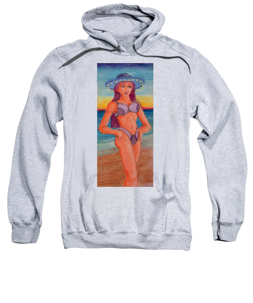 Beach Sweatshirt featuring the drawing Neon Minx by Del Gaizo