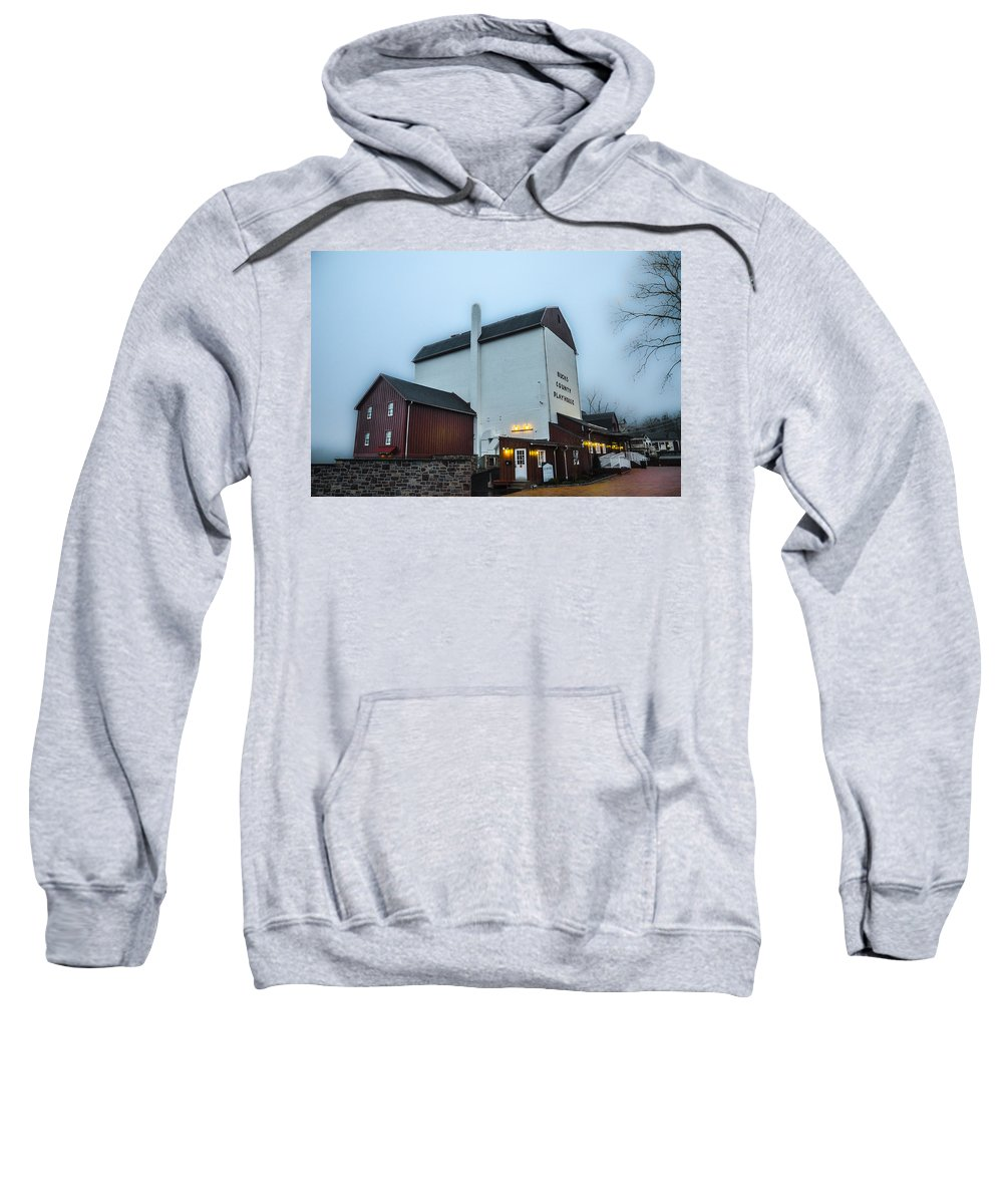 New Sweatshirt featuring the photograph New Hope - The Bucks County Playhouse by Bill Cannon