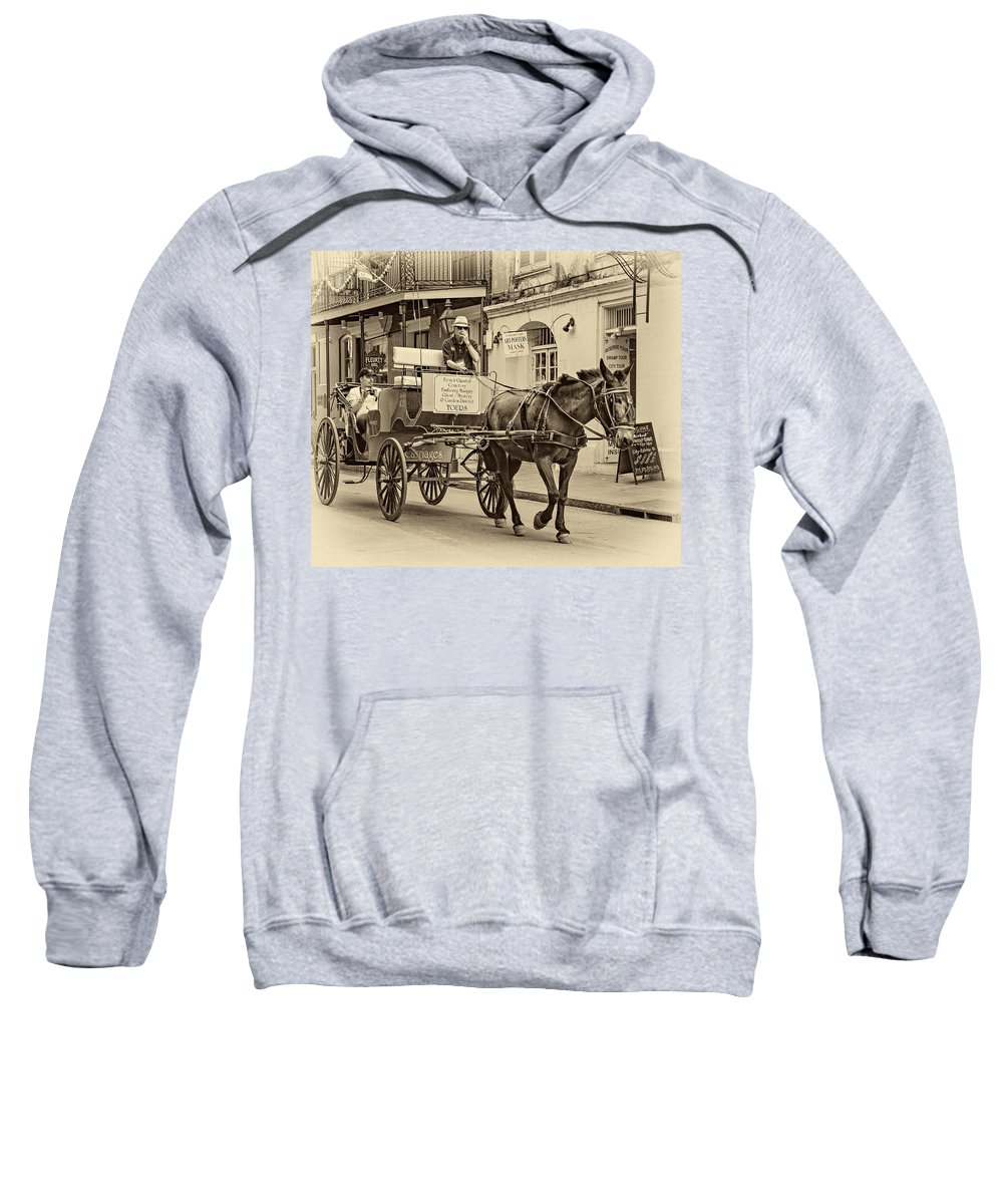 French Quarter Sweatshirt featuring the photograph New Orleans - Carriage Ride Sepia by Steve Harrington