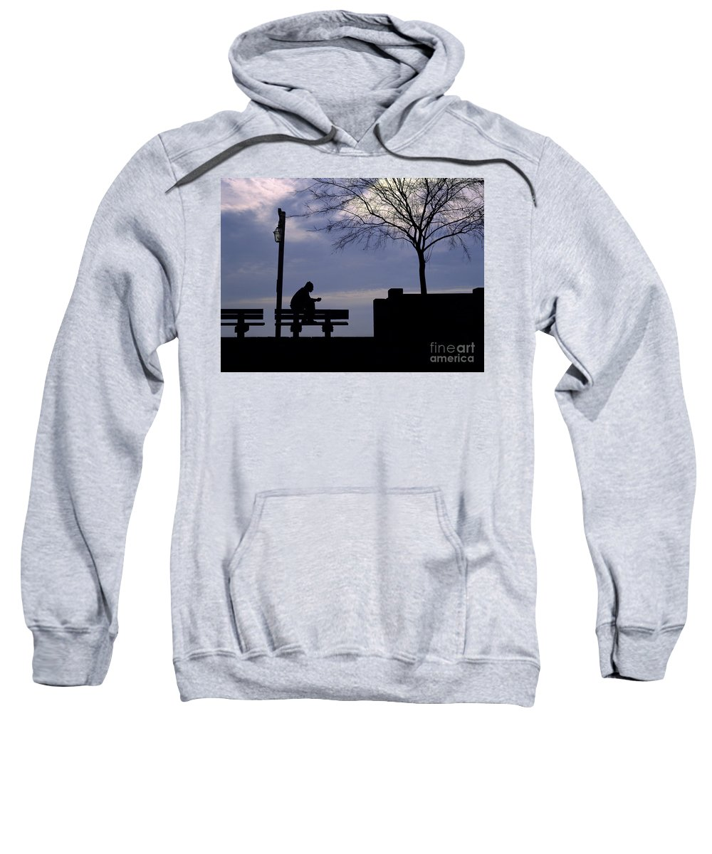 Silhouette Sweatshirt featuring the photograph New Orleans Riverwalk Silhouette by Mike Nellums