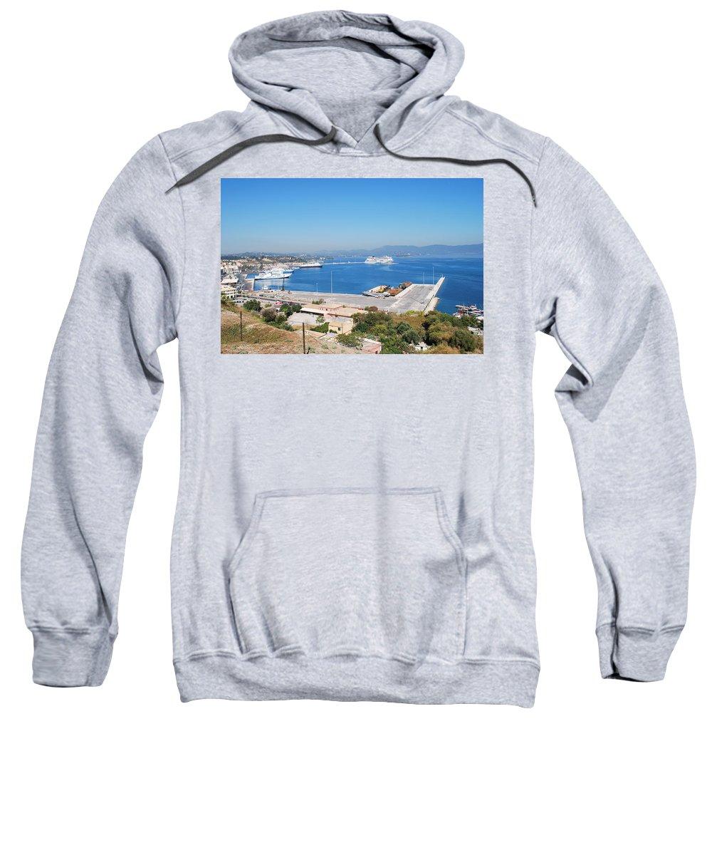 Corfu Sweatshirt featuring the photograph New Port Corfu by George Katechis