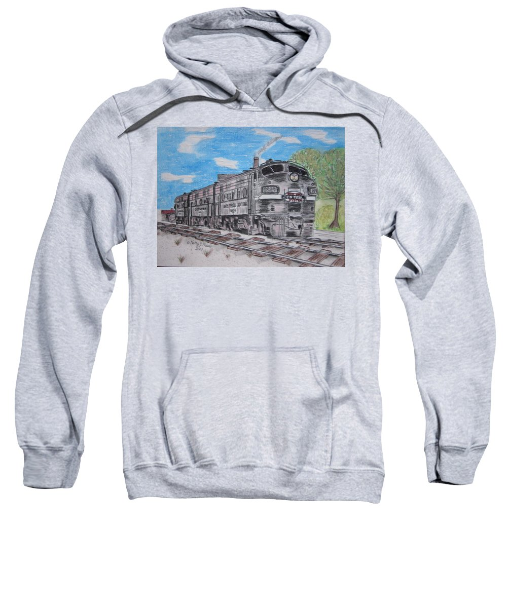 New York Sweatshirt featuring the painting New York Central Train by Kathy Marrs Chandler