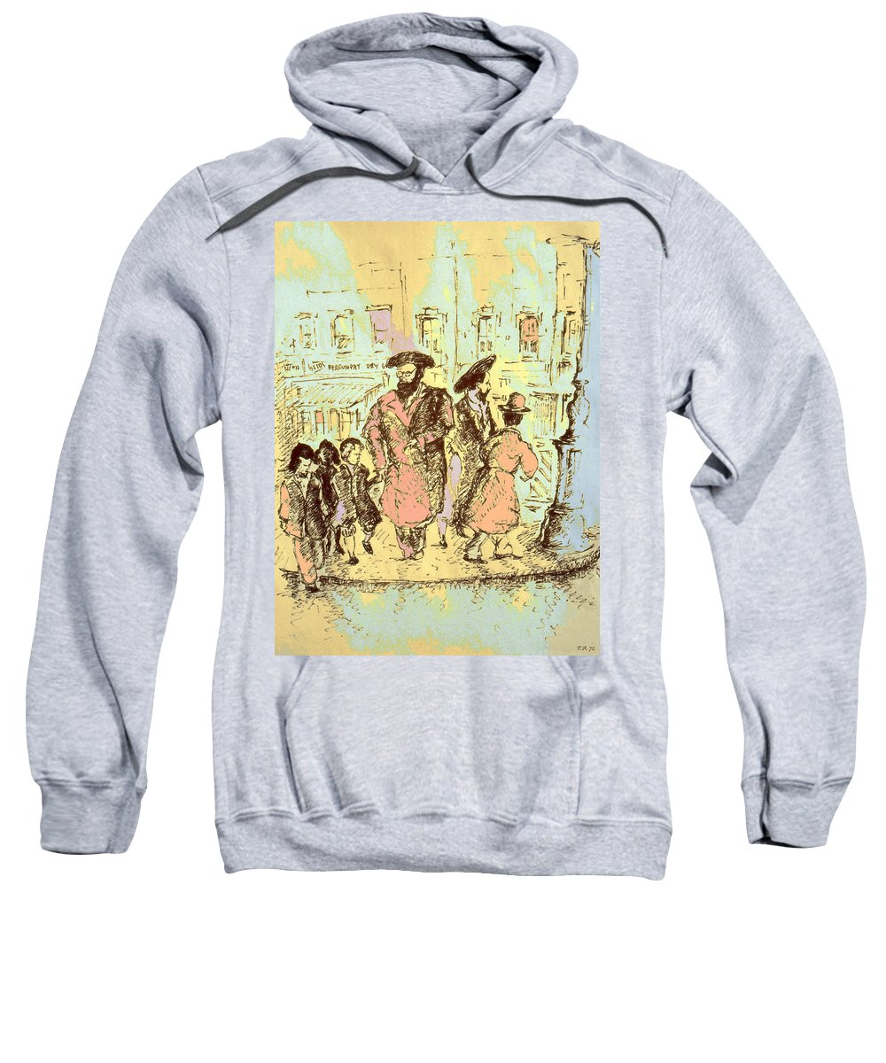 New_york Sweatshirt featuring the drawing New York City Jews - Fine Art by Peter Potter