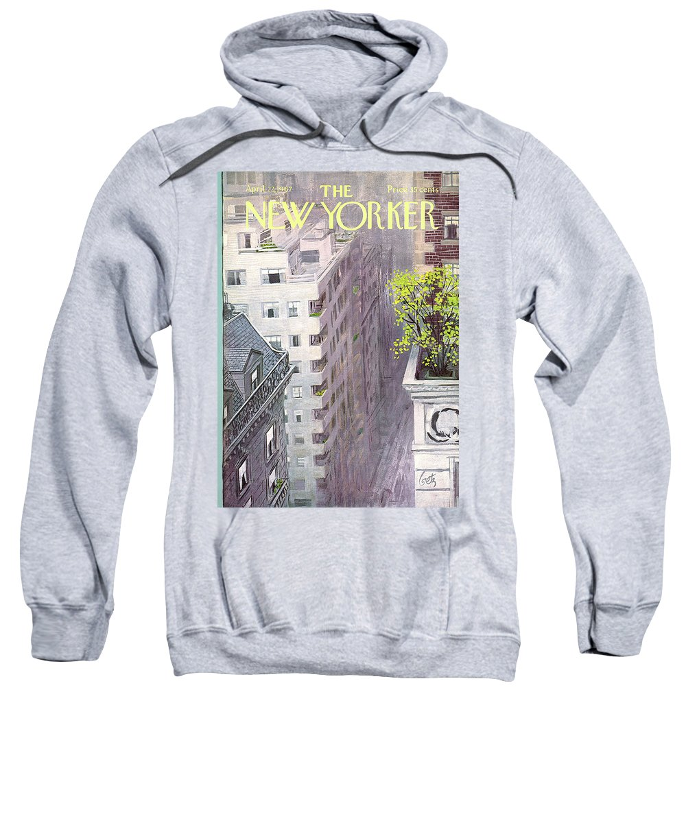 Arthur Getz Agt Sweatshirt featuring the painting New Yorker April 22nd, 1967 by Arthur Getz