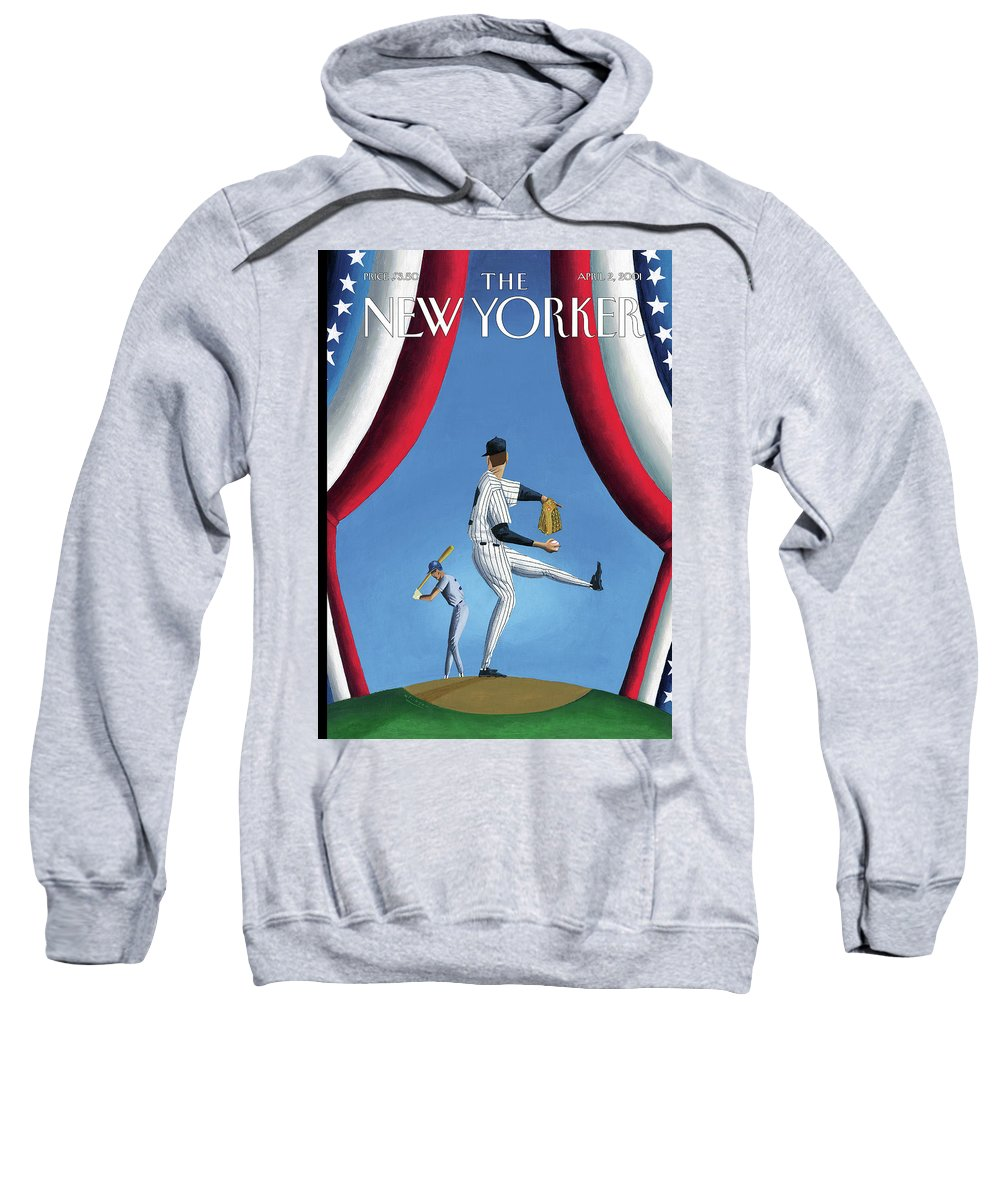Opening Day Sport Sports Athlete Athletics Baseball Yankees Yanks Pitch Hitter Slugger Ball Game New York Pitch Pitcher Strike Out Home Run Mark Ulriksen Mul Mul Artkey 51204 Sweatshirt featuring the painting New Yorker April 2nd, 2001 by Mark Ulriksen