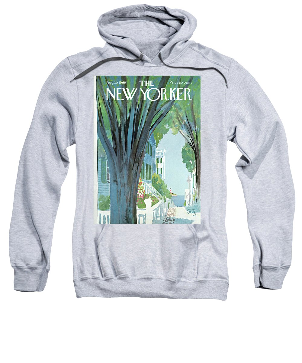 Arthur Getz Agt Sweatshirt featuring the painting New Yorker August 30th, 1969 by Arthur Getz