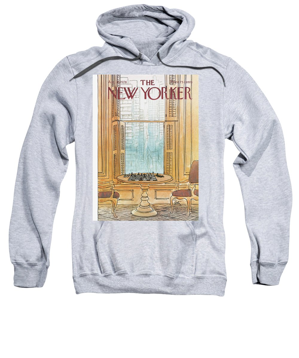 Chess Sweatshirt featuring the painting New Yorker August 30th, 1976 by Arthur Getz