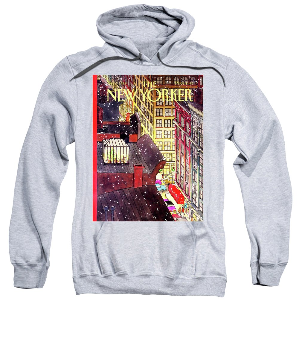 A Birds-eye View Of A Busy Shopping Evening Downtown. Snow Begins To Fall On The Rooftops Where One Sunroof Is Illuminated By A Crowd Gathered Around A Christmas Tree. Sweatshirt featuring the painting New Yorker December 7th, 1992 by Roxie Munro