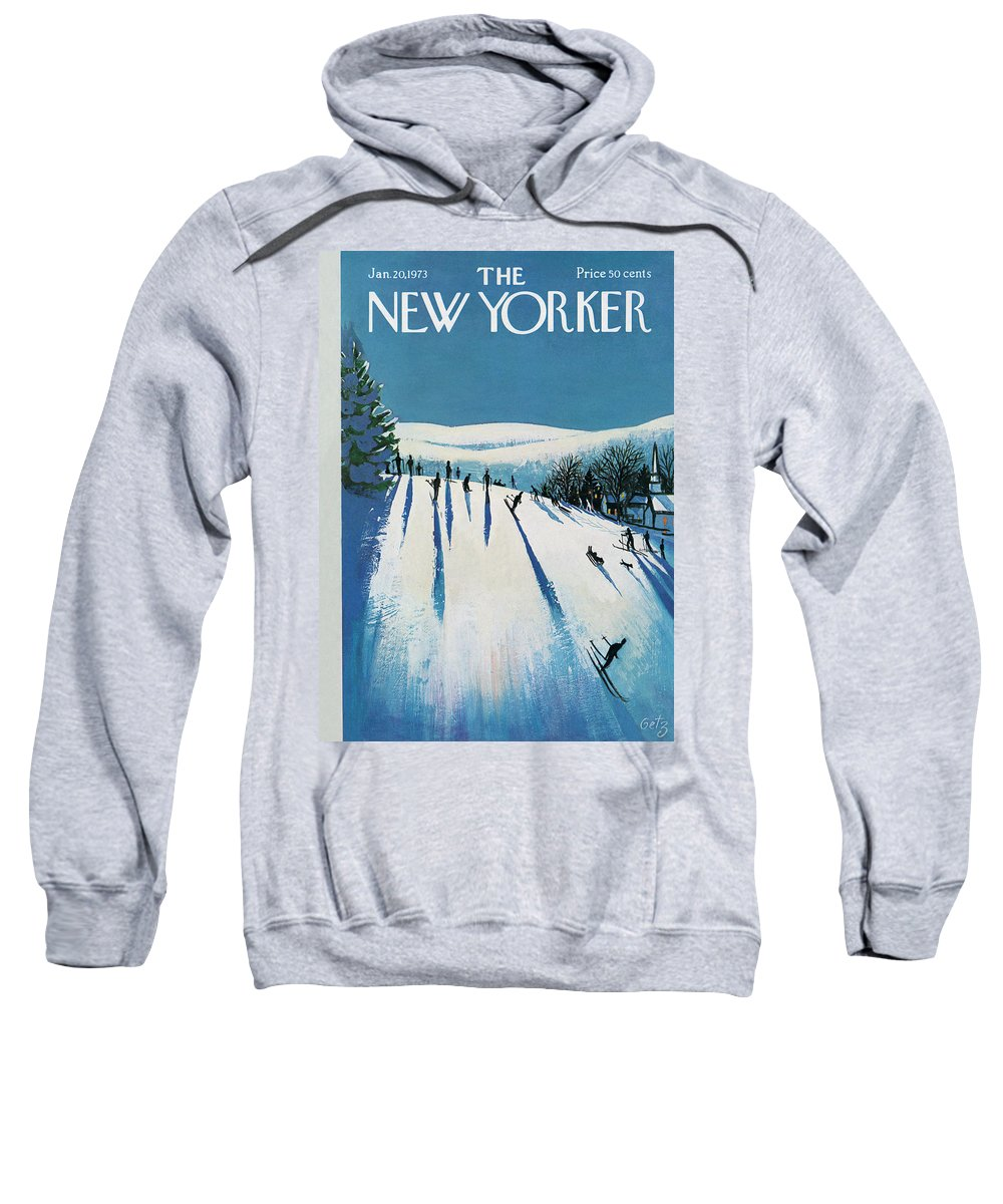 Snow Sweatshirt featuring the painting New Yorker January 20th, 1973 by Arthur Getz