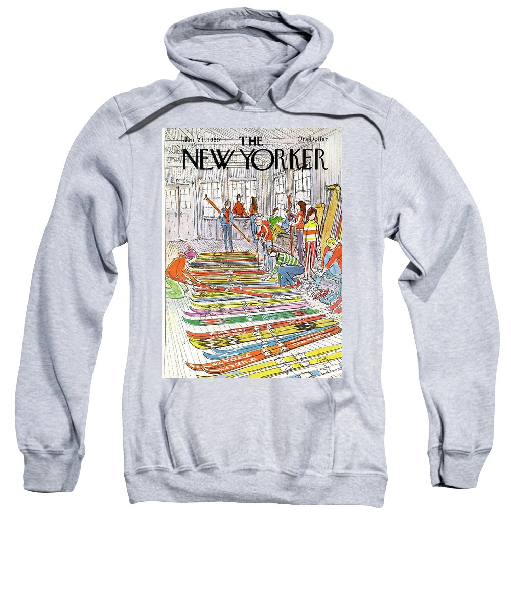 Sports Sweatshirt featuring the painting New Yorker January 21st, 1980 by Arthur Getz