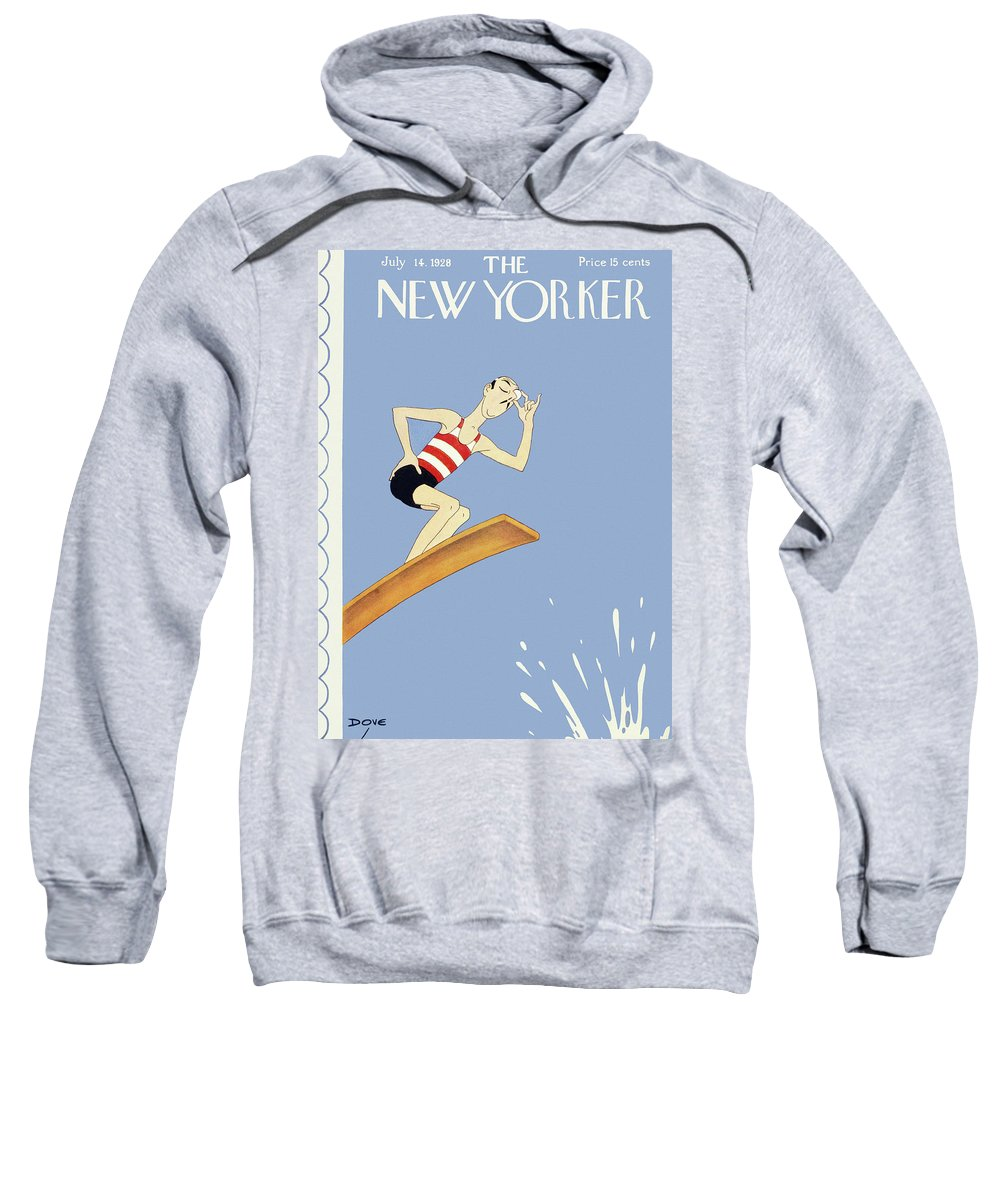 Illustration Sweatshirt featuring the painting New Yorker July 14 1928 by Leonard Dove