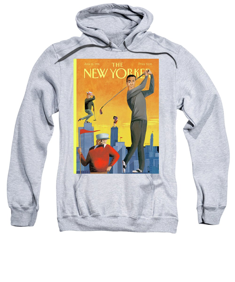 Tee Time Sweatshirt featuring the painting New Yorker June 10th, 1996 by Mark Ulriksen