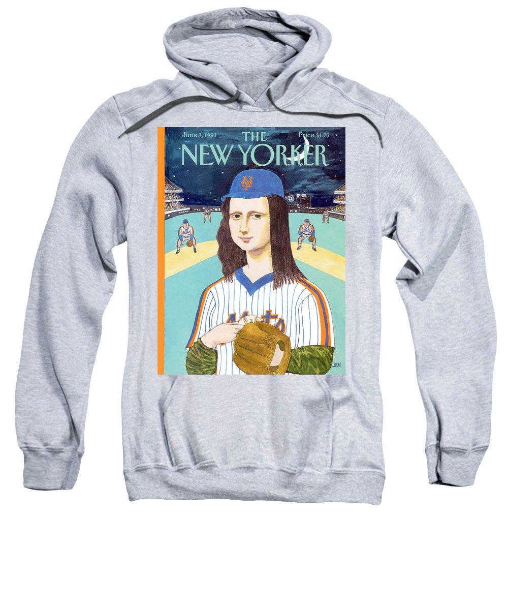 Da Vinci's Mona Lisa Sweatshirt featuring the painting New Yorker June 3rd, 1991 by JB Handelsman