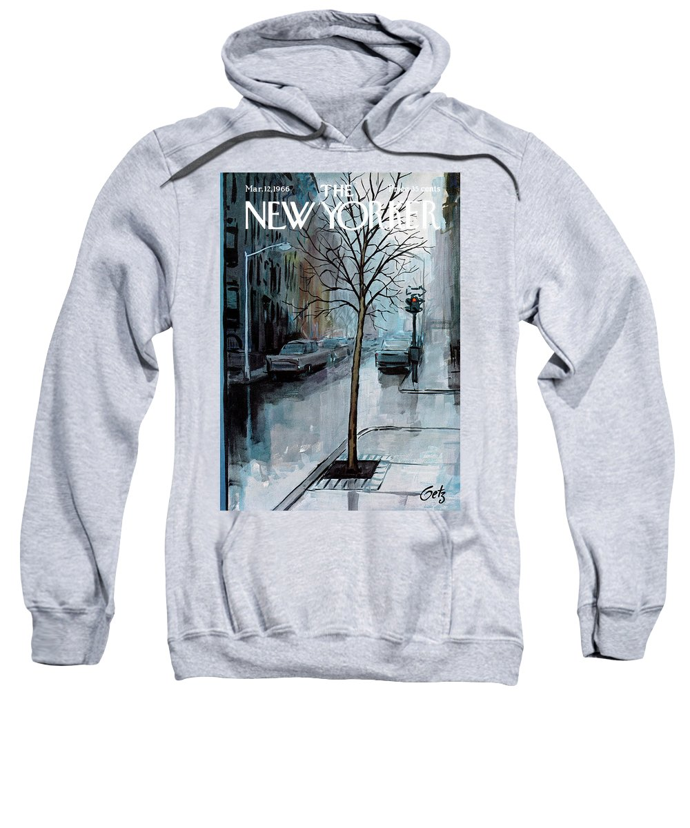 Rain Sweatshirt featuring the painting New Yorker March 12th, 1966 by Arthur Getz
